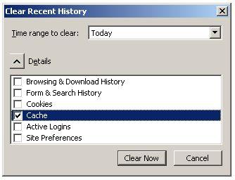 Firefox clear cache